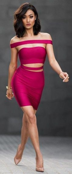 #Street #Fashion   Cherry Bandage Dress + Nude Pumps   Micah Gianneli                                                                             Source