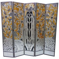 Gorgeous Art Deco Revival Five Panel Screen After Edgar Brandt