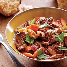 Provençal Beef Daube Recipe - prep in advance and then throw in the slowcooker. From Cooking Light.