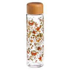 Mother's Day Nature's Tapestry Glass Water Bottle with Wooden Top