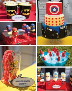 Superhero party - amazing cake!  And why didnt I think of using those popsicles?  And the superhero valentine idea is perfect here, of course.  And theres a balloon wreath.  And the lightening bolt shoes are awesome.  May have to pin those separately!