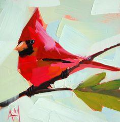 Cardinal no. 24 original bird oil painting by Moulton prattcreekart