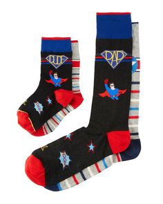 """Neiman Marcus """"Dad & Dude"""" gift cube set with four pairs of father & son socks. Two pairs of super hero motif socks. Two pairs of striped socks. Matching Socks, Striped Socks, No Show Socks, Cotton Socks, Lycra Spandex, Father And Son, Neiman Marcus, Lounge Wear, Dads"""