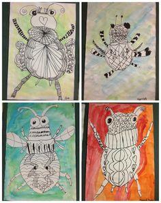Classroom Art Projects, Art Classroom, Minibeast Art, Art Sub Lessons, 2nd Grade Art, Atelier D Art, Bug Art, Insect Art, Kindergarten Art