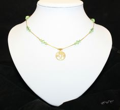 Gold Plated Tree Short Necklace with Genuine Swarovski Peridot Beads by EmeraldaCrystal on Etsy