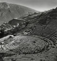""""""" - The theater at Delphi, which presented the audience with an amazing view of the entire sanctuary (Herbert List - Herbert List, History Of Photography, Modern Photography, Delphi Greece, Greece History, Classical Greece, Chiaroscuro, History Photos, Magnum Photos"""