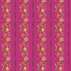 Alison Glass - Field Day - Flower Stripe in Hot Pink