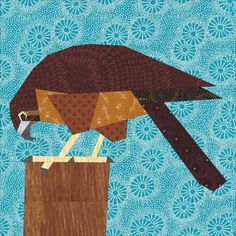 Falcon 12 inch Paper Pieced Pattern - you might not believe it, but we get birds of prey in to the shelter pretty often