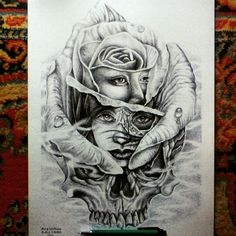 """""""Bloom to Die"""" Ballpoint drawing on paper Done by Alfa Kriting Black Finger"""