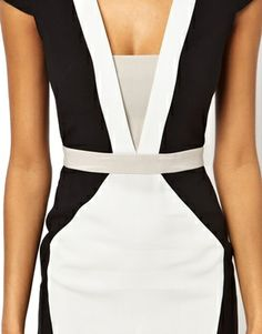 Structured Pencil Dress In Color Block