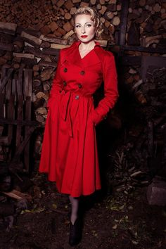 Collectif Clothing - TopVintage exclusive ~ Dietrich Swing Trench Coat in Red