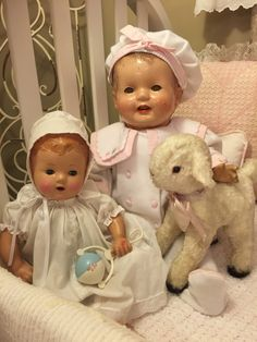 "Two old composition baby dolls i found today. 20"" and 27"" both unmarked with tin sleep eyes"