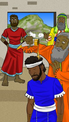 Samuel anoints David the king of Israel.