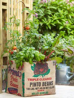 Using a burlap bag to cover a cardboard container!!! Super cute DIY planter idea for your garden!