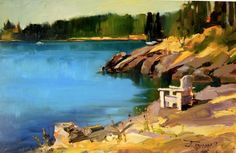 """Doe Bay Lookout plein air landscape painting by Robin Weiss"" - Original Fine Art for Sale - © Robin Weiss Orcas Island, Daily Painters, Happy Paintings, Z Arts, Online Gallery, Fine Art Gallery, Landscape Paintings, Coastal, Illustration Art"