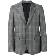 Stella McCartney check tailored jacket (2 905 PLN) ❤ liked on Polyvore featuring men's fashion, men's clothing, men's outerwear, men's jackets, grey, mens leopard print jacket, mens gray leather jacket and mens grey jacket