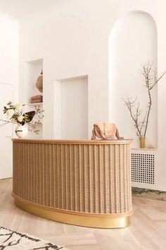 Ulla's Johnson's Feminine Boho Chic Aesthetic Gets the Retail Treatment Dark Interiors, Shop Interiors, Colorful Interiors, Arch Interior, Brown Interior, Interior Shop, Boho Chic, Counter Design, Bar Counter