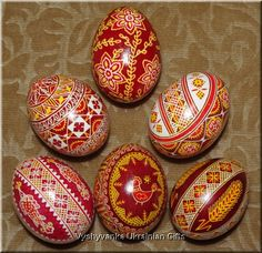 Red and gold pysanky