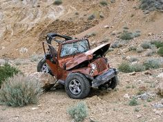 Crunched Jeep, just because they have 4 Wheel drive does not mean they can go anywhere, and be careful and have fun.