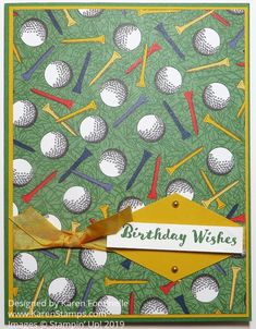 Make an easy birthday card for the golfer in your life with the Country Club Designer Series Paper in the Occasions Mini Catalog Golf Birthday Cards, Simple Birthday Cards, Masculine Birthday Cards, Man Birthday, Masculine Cards, Golf Cards, Paper Cards, Men's Cards, Fathers Day Cards