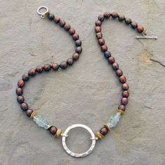 Hammered Sterling and Black Pearl Necklace by Elizabeth Plumb Jewelry