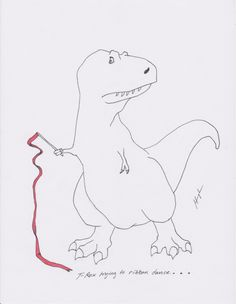 T-Rex unsuccessfully attempts to use its tiny arms to accomplish mundane tasks.