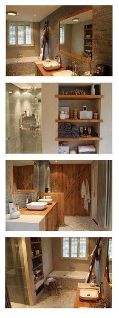 De landelijke badkamer - pebbles met warm hout