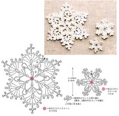 I love snowflakes. I love to crochet them and to decorate with them. We use them as Christmas tree ornaments and on hanging wreath. Every year I'm asked to share crochet snowflakes diagrams& Crochet Diy, Thread Crochet, Crochet Motif, Irish Crochet, Crochet Crafts, Crochet Doilies, Crochet Flowers, Crochet Stitches, Crochet Patterns