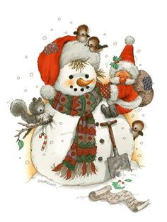 Whimsical Folk Art - cute snowman