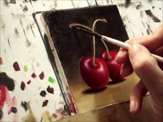 Cherries Oil painting by Jane Palmer