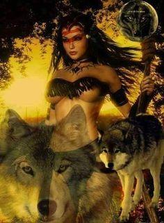 Fantasy Wolf, Fantasy Art Women, Beautiful Fantasy Art, Fantasy Warrior, Dark Fantasy Art, Fantasy Girl, Native American Wolf, Native American Pictures, Native American Artwork