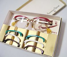 1950s glasses eyeglasses Removable exchangeable Flamettes American Optical Flame box set Interchangeable Rims*This is so freaking cool! Makes me wish I wore glasses.*