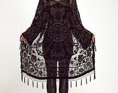Velvet Fringe Kimono Jacket