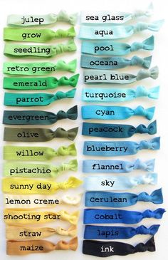 Colorful Ribbon Hair Elastics - 70 Color Choices- You Choose 5 Colour Pallete, Colour Schemes, Color Combinations, Color Mixing Chart, Color Shades, Green Shades, Gray Green, Elastic Hair Ties, Color Psychology