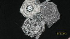 Silver Rosette Flower Clip by celestecy on Etsy, $15.00