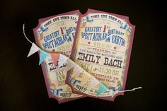 Circus party - invitations