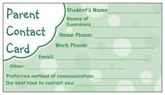 Parent Contact Record - use at the beginning of each term to update details