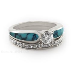 Dark Blue Chinese Turquoise Engagement Ring with One Band