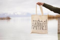 Seeker of Happines - Canvas Tote Bag (You Choose Handle Color) on Etsy, $12.00- good teacher present