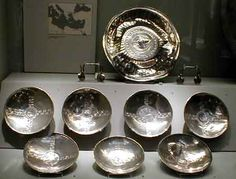 Found in the sutton Hoo ship burial. this set of silver bowls come from the Byzantine world.