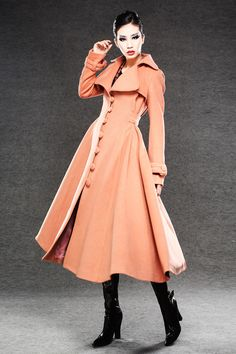 Long Cashmere Swing Coat - Single Breasted Flared Luxury Coat with Large Collar and  Cinched Waist C029 by YL1dress on Etsy https://www.etsy.com/listing/118044146/long-cashmere-swing-coat-single-breasted