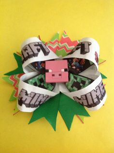 MINECRAFTVery Large Handmade MineCraft Hair Bows by BOWSandBITSuk, £3.89 Free discount codes available this weekend only