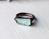 Copper Aquamarine Ring March Birthstone Pale Green Blue Artisan Handmade