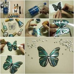 Plastic Butterflies Painted With Nail Polish