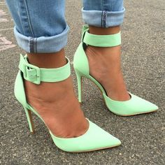 Women's Fashion High Heels : Amazing Mint Ankle Strap Heels