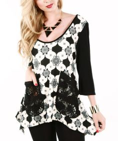 Take a look at this Black & White Lace Pocket Top on zulily today!