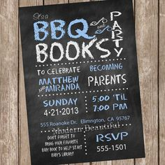 Chalkboard Couples BBQ Book Baby Shower Invitation, chalkboard, blue, book shower invitation, couple baby shower, printable, digital file