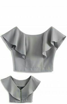 FRONT - Frilling shoulder - Boat neckline with deep V-shape back - Exposed back zip closure - Cotton, Polyester - Machine washable Size(cm) Length Bust Waist S/M 34 94 74 Size(inch) Length Bust Waist S/M 37 29 * S/M fits for Drift in a Frilling Grey Cropp Saree Blouse Designs, Blouse Patterns, Blouse Styles, Sewing Clothes, Diy Clothes, Clothes For Women, Grey Crop Top, Crop Tops, Cropped Top