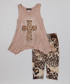 This Beige Cross Tank & Leopard Leggings is perfect! #zulilyfinds