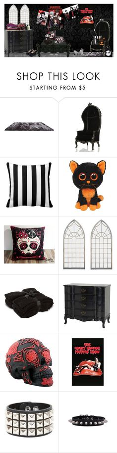 """""""vampy bedroom"""" by undeaddolly ❤ liked on Polyvore featuring interior, interiors, interior design, home, home decor, interior decorating, Gold Sparrow, INC International Concepts, Barefoot Dreams and Eichholtz"""